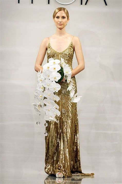 the great gatsby wedding dress a gold deco wedding dress from the theia fall 2014