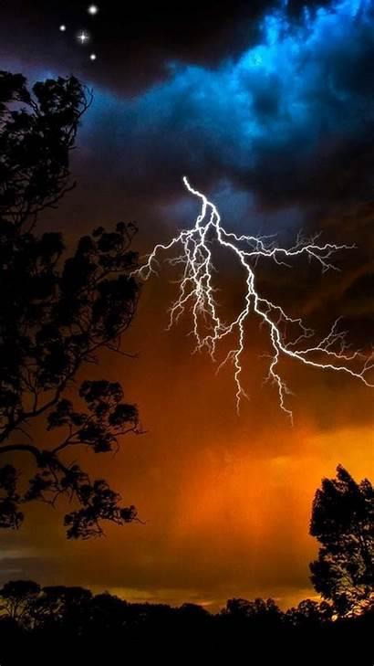 Lightning Strike Night Sky Trees Bad Weather