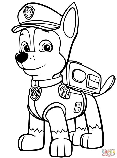 paw patrol chase coloring coloring pages