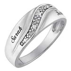 Ee  Sterling Silver Mens Diamond Accent Name Wedding Band Ee