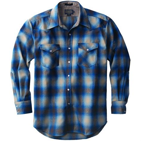 snap front western canyon shirt  tan  blue ombre