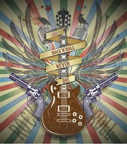 Roll Rock Retro Mural Symbol Wallsauce Wallpapers