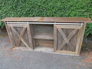 custom built sliding barn door cabinets reuse With barn door sofa table