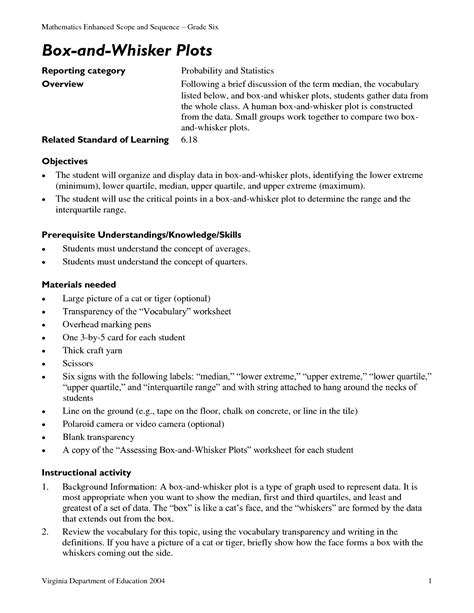 10 Best Images Of Box And Whisker Worksheet  Box And Whisker Plot Worksheets, Box And Whisker