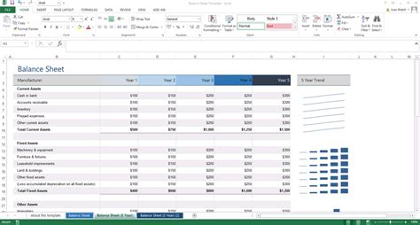 excel template  year balance sheet
