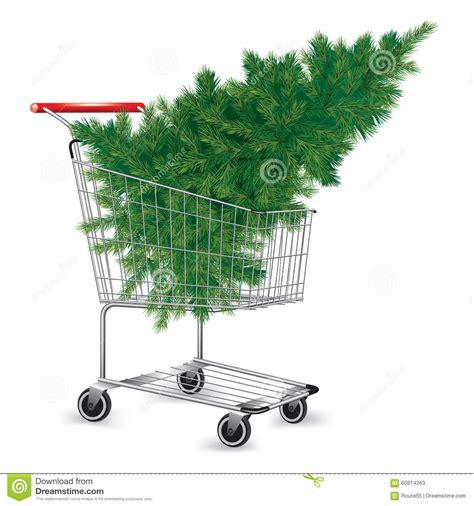 shopping cart christmas tree shopping cart with christmas tree stock vector image 1406