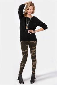 Cool Camo Print Jeggings - Military Jeggings - $37.00