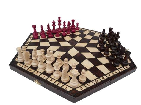 3 Three Players Wooden Chess Set Large