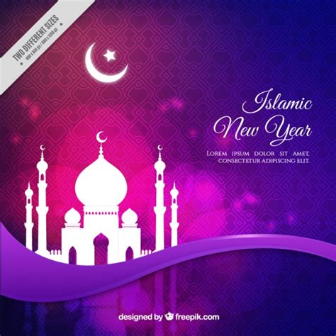 purple background  mosque  islamic  year vector
