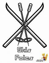 Coloring Skis Winter Drawing Hockey Sports Colouring Bone Pole Cold Getdrawings Yescoloring sketch template
