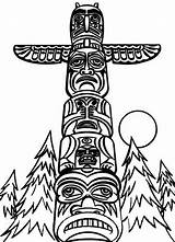 Totem Coloring Poles Pole Drawing Eagle Cartoon Native Outline Clipart Monumental Wolf Indians Cliparts Tattoo Sheet Apache Northwest Line Templates sketch template