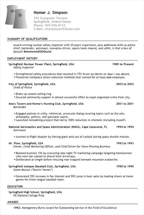 d ohhhhh here s homer s resume pongo