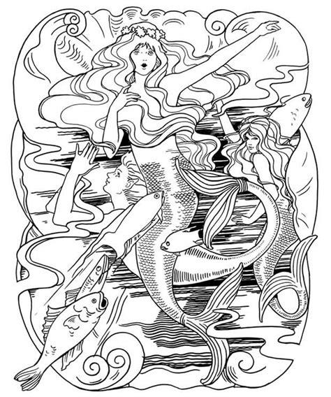crowes gathering  mermaid  coloring page