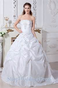 shop wedding dresses lace up strapless taffeta ruched beading chapel gown wedding dress on sale lace up