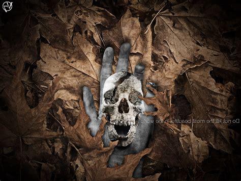 Nature Death Skull Leaves Photo Manipulation Adobe