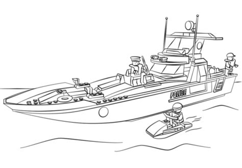 lego police boat coloring page  printable coloring pages