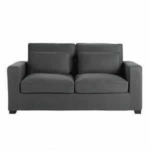 canape convertible 2 3 places en coton gris ardoise milano With tapis exterieur avec carrefour canapé convertible