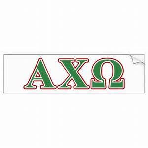 alphi chi omega green and red letters car bumper sticker With greek letter bumper stickers