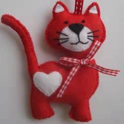 cat christmas tree ornament decoration handmade red felt cat ornament ebay