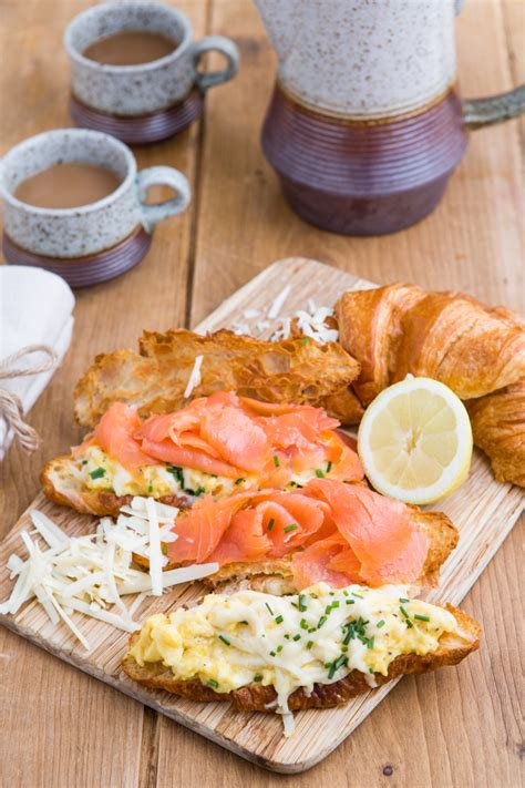 smoked salmon  scrambled eggs  croissants