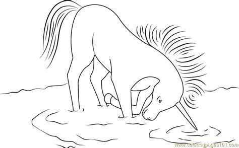 unicorn  drinking water coloring page  unicorn coloring pages coloringpagescom