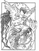 Coloring Pages Crystal Ball Colouring Adult Fantasy Books Fairy sketch template