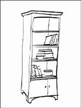 Coloring Bookshelf Bookcase Furniture Pages sketch template