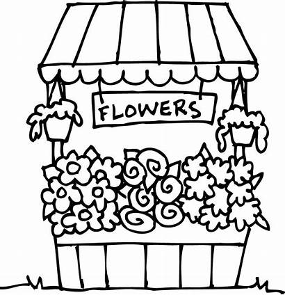 Flower Clipart Drawing Coloring Stand Clip Getdrawings