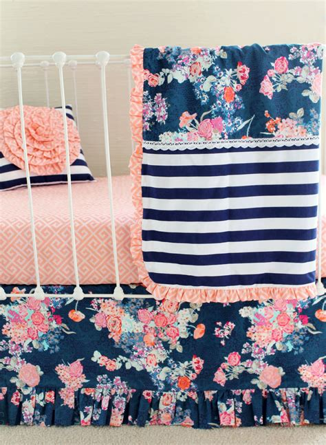 Blush And Navy Nursery Bedding  Navy Floral Blush Crib