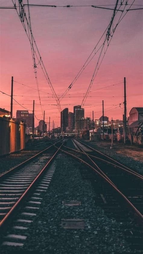 fotografias city night sunset evening power lines