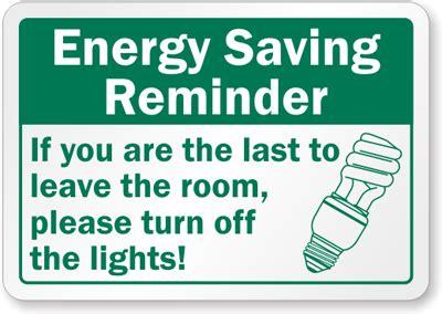 turn off the lights conserve energy signs and stickers