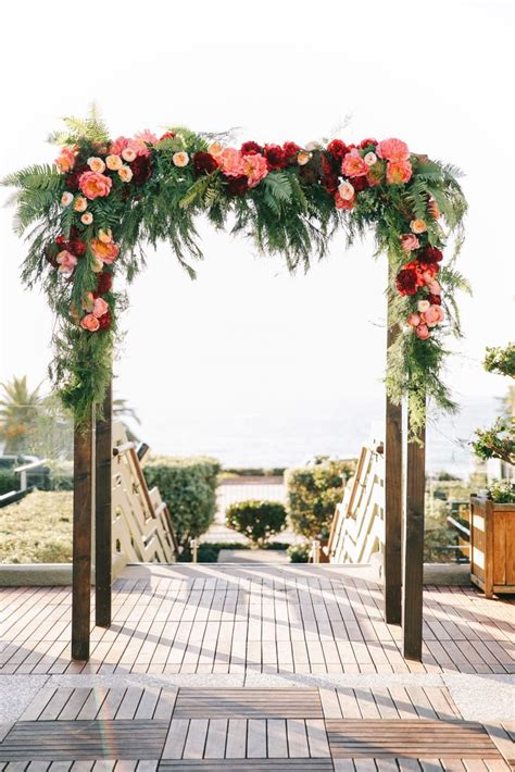 Burgundy And Pink Floral Arch With Garden Roses Oak And