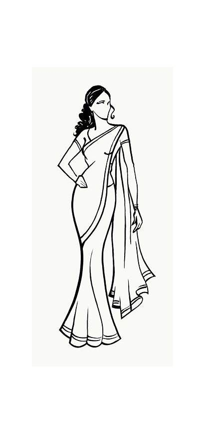 Saree Coloring Indian Clipart Drawing Sketches Illustration