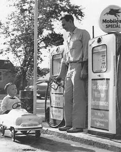 Boy Rides Pedal Car To Gas Station 8x10 Reprint Of Old