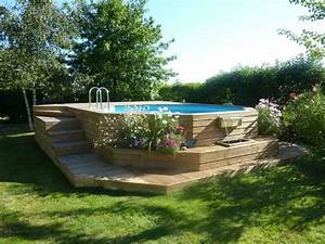 piscine bois en l With terrasse en bois pour piscine hors sol 6 installation creation de piscine en bois sur mesure bluewood