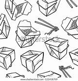 Chinese Vector Background Boxes Doodle Takeout Chopsticks Seamless Including Noodles Shutterstock sketch template