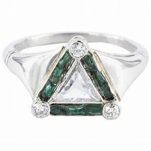 art deco emerald rare trillion cut diamond platinum With trillion cut diamond wedding rings