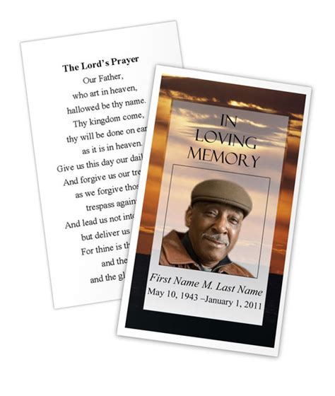 brown sunset memorial prayer card template elegant memorials