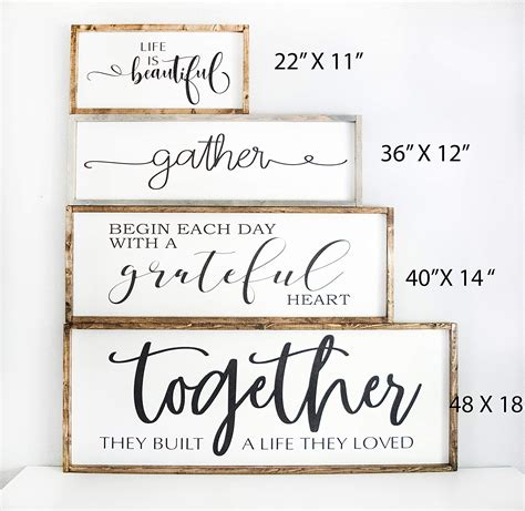 Learn how to design your perfect space with our dining room wall decor ideas and tips. Large Wood Framed Gather Sign, dining room wall décor sign, rustic farmhouse style plaque
