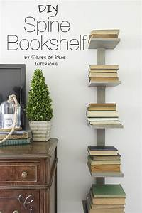 DIY Spine Bookshelf Shades Of Blue Interiors