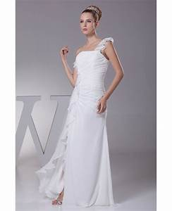 Style Chart Simple Ruffled One Shoulder Chiffon Long Bridal Dress With