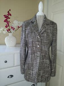 austin reed gray wool blend boucle tweed blazer jacket sz