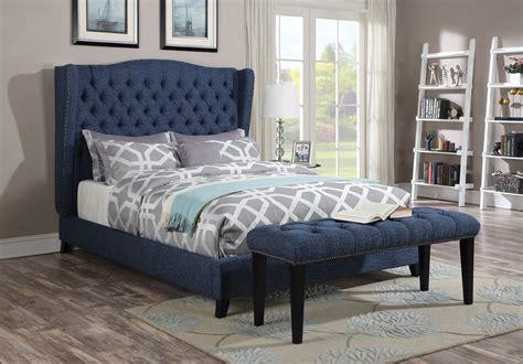acme furniture  faye blue wingback tufted nailhead