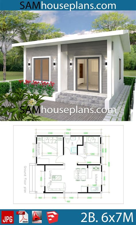 House Plans 6x7m with 2 bedrooms Full Plans Simple house