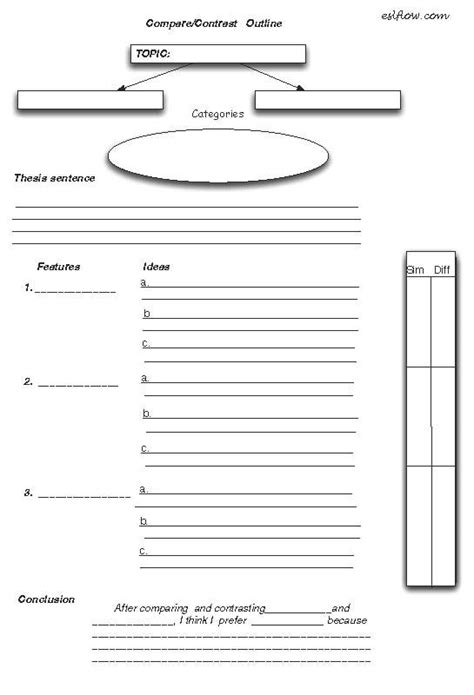 comparison contrast essay outline worksheet teaching esl