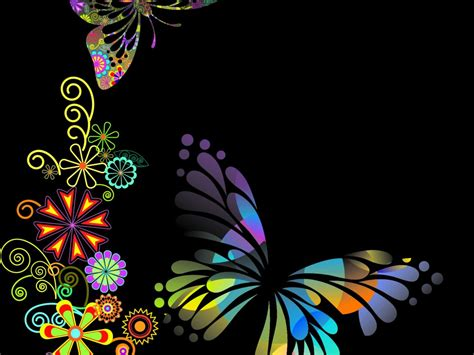 powerpoint templates cartas butterfly shaped flowers powerpoint templates black