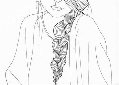Braid Drawing Shoulder Line Drawings Braids Outline