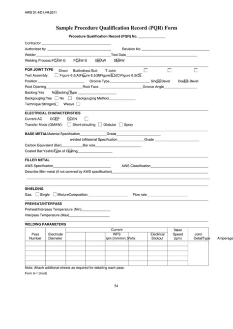 Fillable Sample Procedure Qualification Record (Pqr) Form