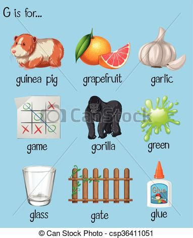 many words begin with letter n illustration 453895348 clipart vector of many words for letter g illustration 45105