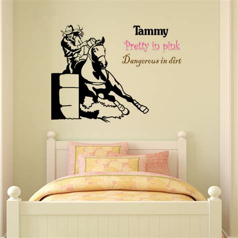 sticker phrase chambre decal barrel racer wall sticker bedroom name